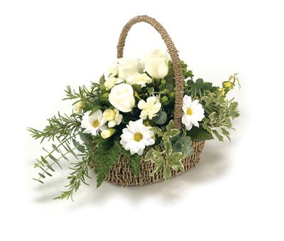 Funeral BasketGreen & White