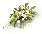 Funeral Basket Large White & Green