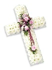 Small Cross Pink and White